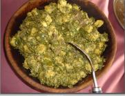 qalme/ኩርኩፋ/Moringa leaves with corn dumplings